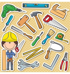 Carpenter with tools vector image