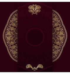 Ornate burgundy background with golden mandala vector