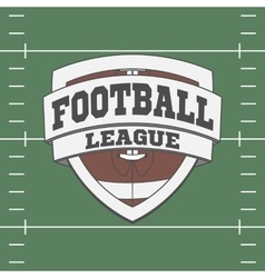 Football label on green field background vector