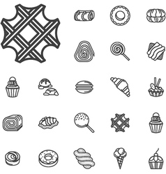 Simple line confectionery icons vector