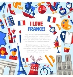 France travel icons circle postcard with famous vector