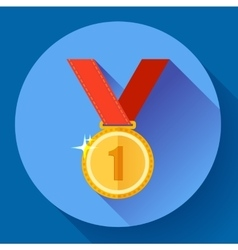 Gold medal icon - first place flat design style vector