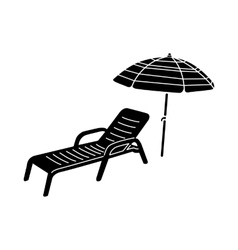 Sun lounger and parasol icon simple style vector
