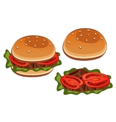 Stages of preparation sandwich with tomato vector