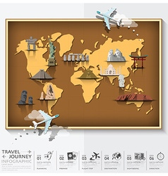 Travel and journey world map with famous landmark vector