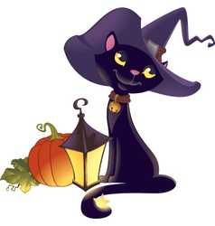Halloween kitten with pumpkin vector