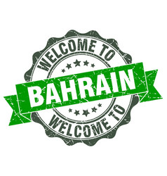 Bahrain round ribbon seal vector