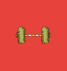 Barbell weight in hatching style vector