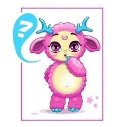 Cartoon cute pink monster vector image vector image