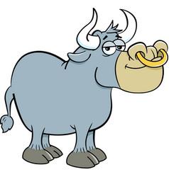 Cartoon smiling bull vector