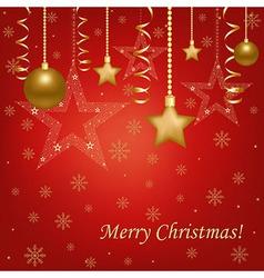 Christmas Red Card With Christmas Balls And Stars vector image