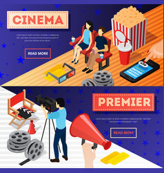 cinema premiere banners set vector image