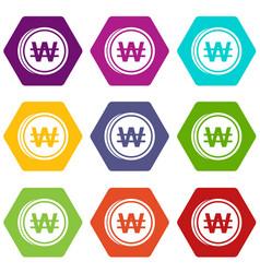 Coins wont icon set color hexahedron vector