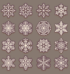 collection of snowflakes with shadow set of pink vector image vector image