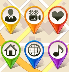 colorful map markers-set 2 vector image