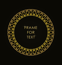 Elegant golden frame in trendy outline style vector