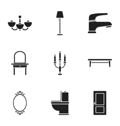 Furniture set icons in black style Big collection vector image vector image