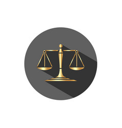 Golden scales of justice icon with shadow on a vector