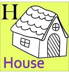 H letter alphabet coloring book house vector