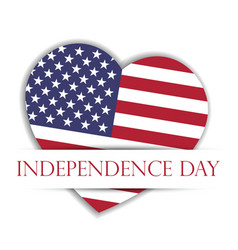 Independence day card us flag in a shape of heart vector