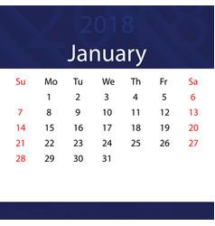 january 2018 calendar popular blue premium for vector image