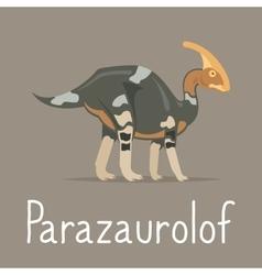 Parazaurolof dinosaur colorful card vector