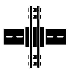 Railroad crossing icon simple style vector