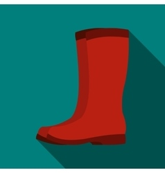 Red rubber boots icon flat style vector image