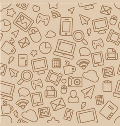 Seamless pattern with outline office icons vector