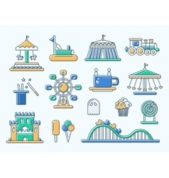 Set of flat design amusement park line icons vector image