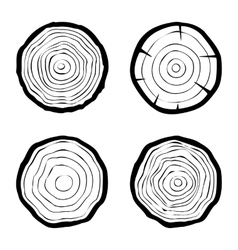 Set of four tree rings icons vector