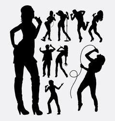 Singer male and female people silhouettes vector