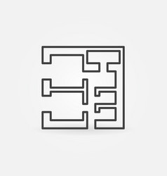 Square house plan icon vector