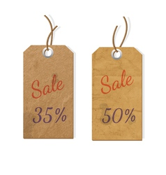 Two cardboard tags for sale vector image vector image