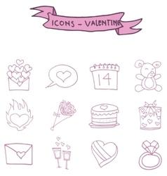Valentine icons pink element art vector