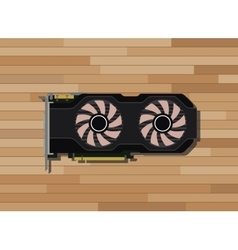 video graphic card isolated with wood background vector image vector image