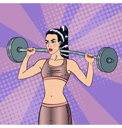 Woman with barbell fit girl healthy lifestyle vector