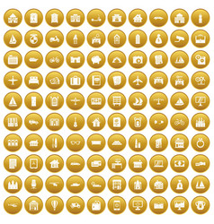 100 property icons set gold vector image vector image
