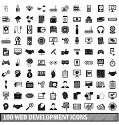 100 web development icons set simple style vector