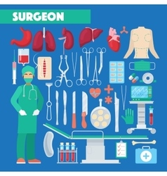 Profession surgeon medical tools with anatomy vector