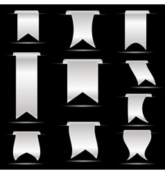 Silver hanging curved ribbon banners set eps10 vector