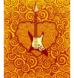 Flame guitar and heart vector image