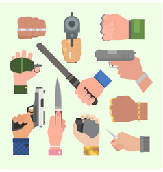 hand firing with gun vector image