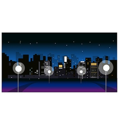 City skyline night street vector