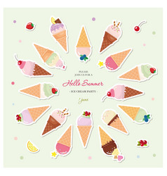 Ice cream cones festive summer background with vector