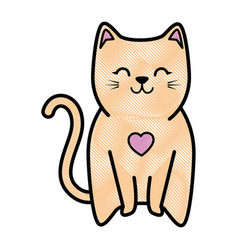 Cute kitty icon vector