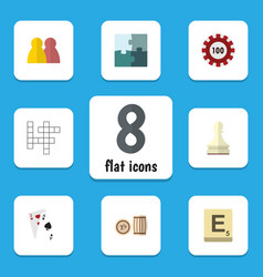 Flat icon games set of ace lottery pawn and vector