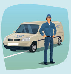 Postman or mail carrier with postal car vector