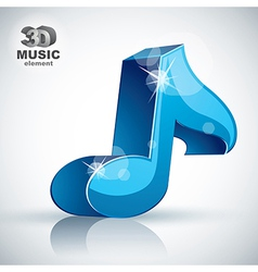 Blue musical note 3d modern icon isolated vector