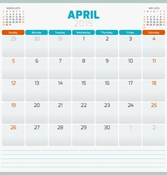 Calendar planner 2015 template week starts sunday vector